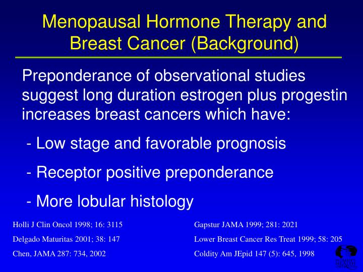 Menopausal hormone therapy and breast cancer background l.jpg