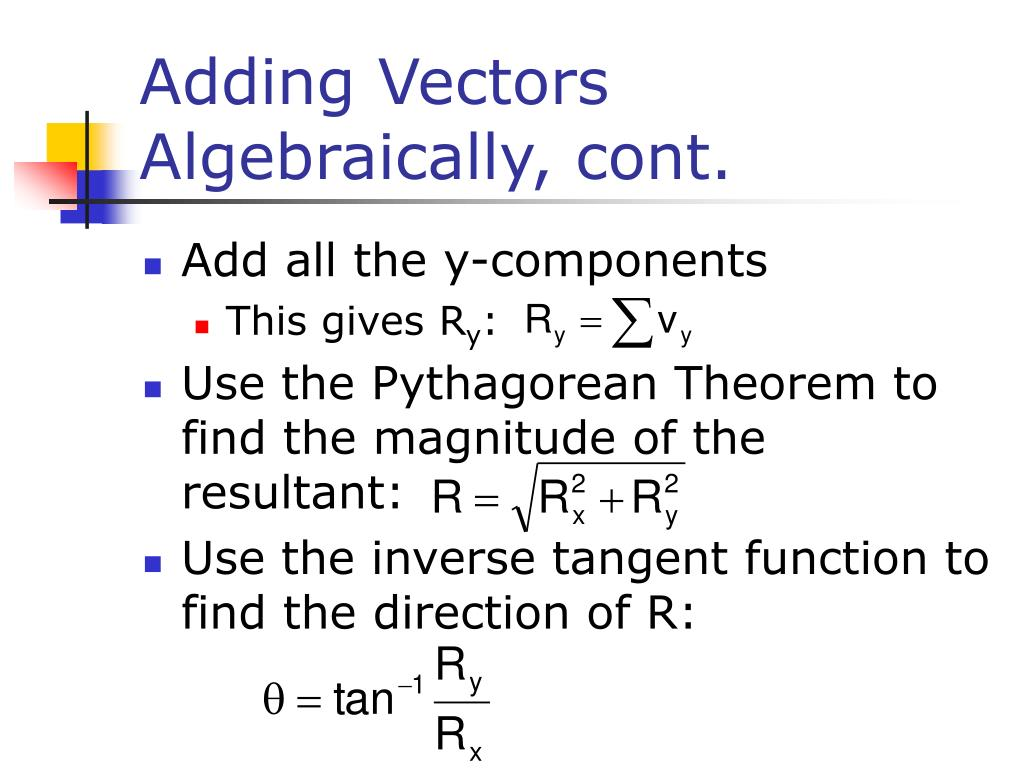 Adding Vectors Algebraically, cont.