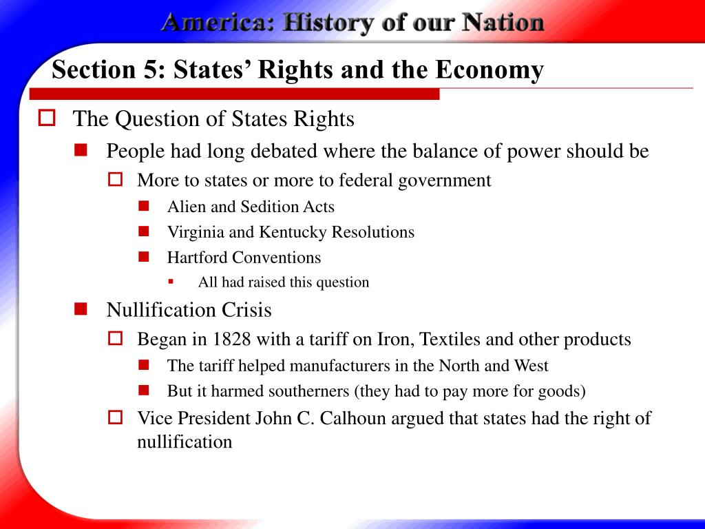 Section 5: States' Rights and the Economy