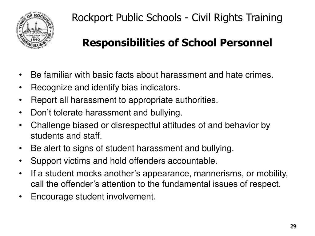 Be familiar with basic facts about harassment and hate crimes.