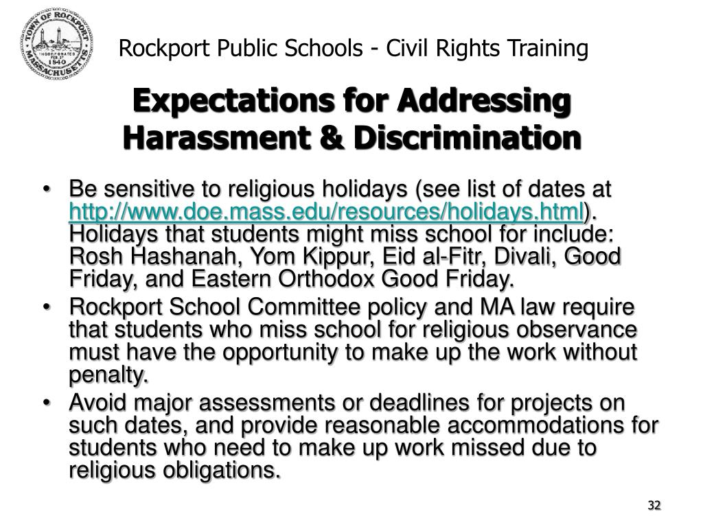 Be sensitive to religious holidays (see list of dates at