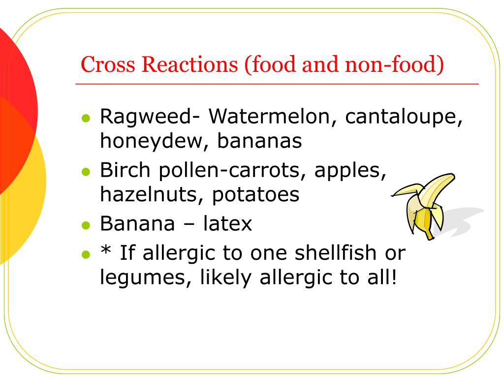 Cross Reactions (food and non-food)