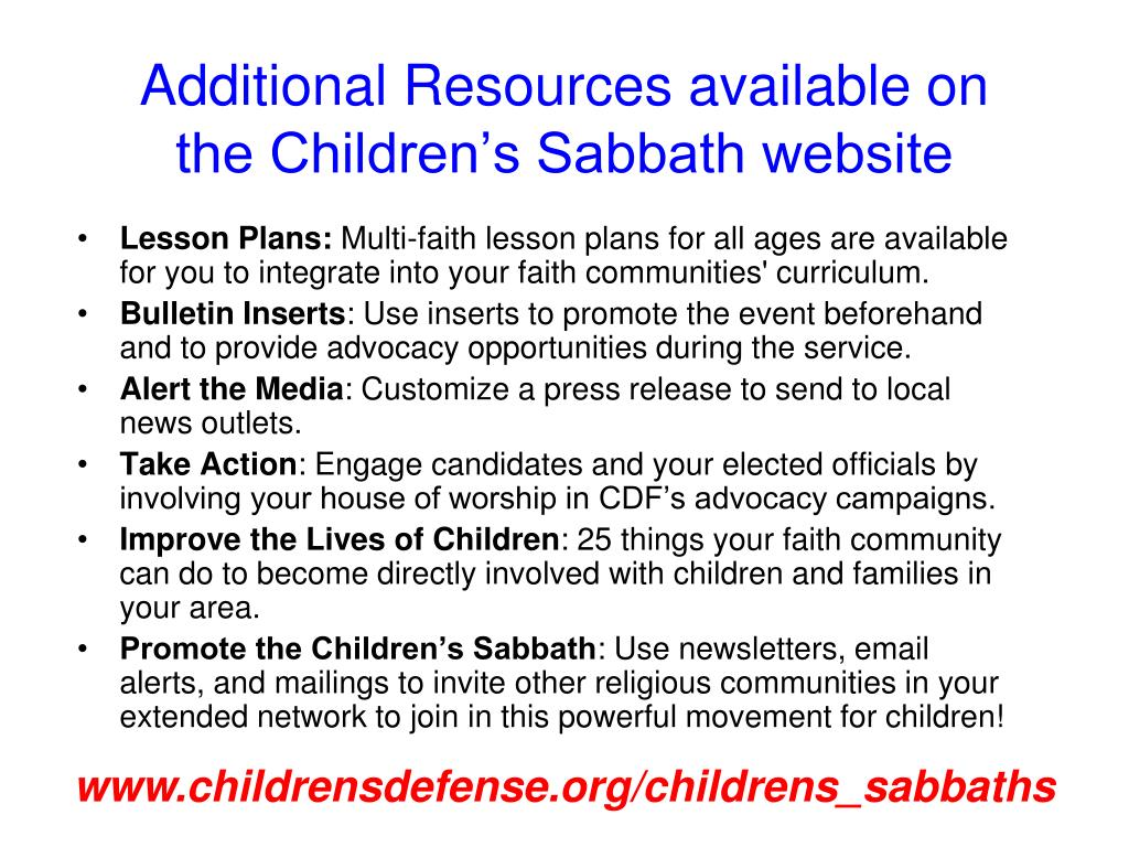 Additional Resources available on the Children's Sabbath website