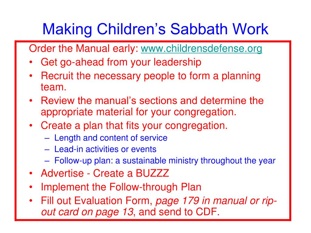 Making Children's Sabbath Work