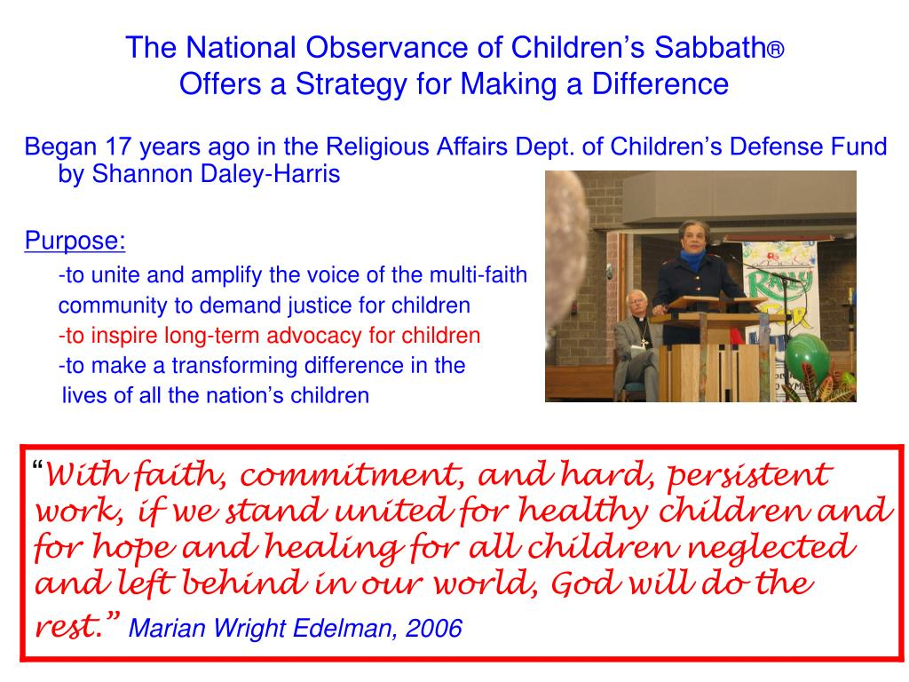 The National Observance of Children's Sabbath