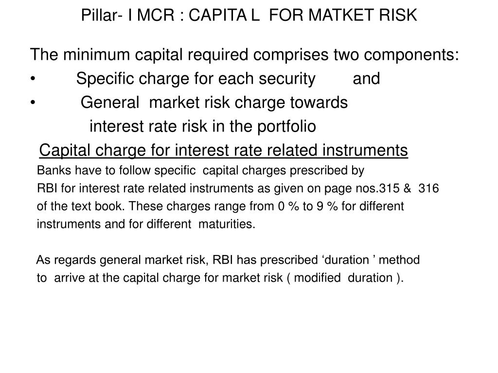 Pillar- I MCR : CAPITA L  FOR MATKET RISK