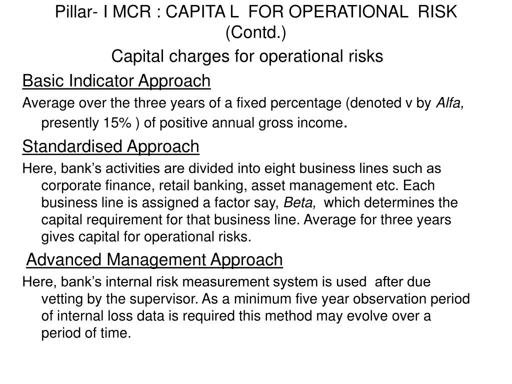 Pillar- I MCR : CAPITA L  FOR OPERATIONAL  RISK (Contd.)
