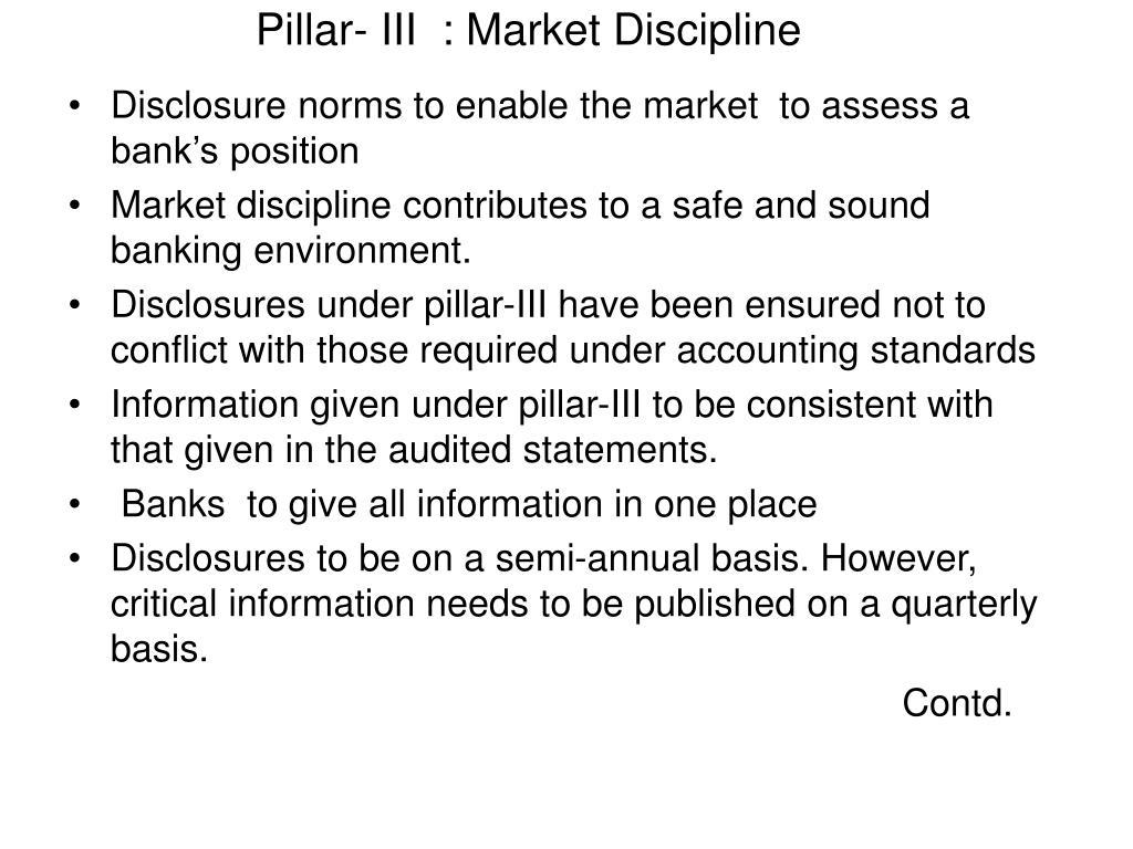 Pillar- III  : Market Discipline