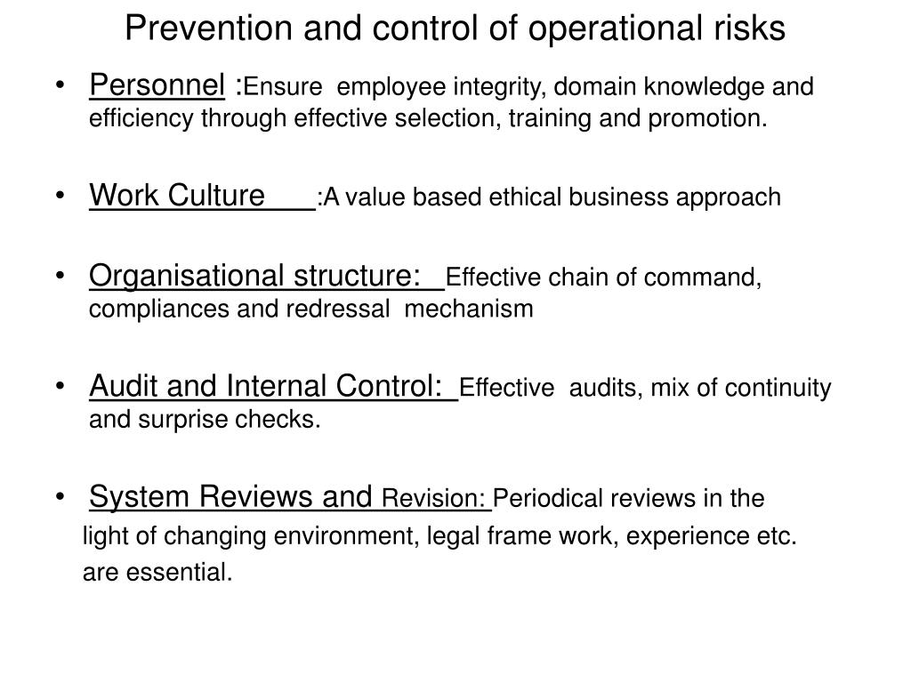 Prevention and control of operational risks