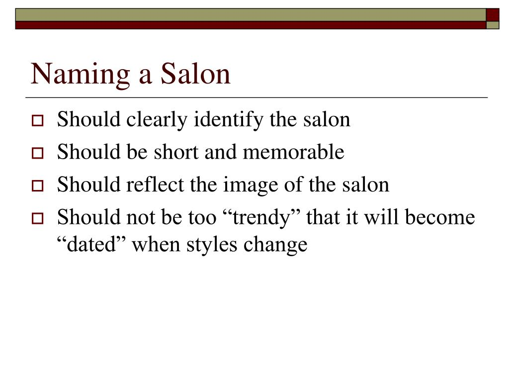Naming a Salon