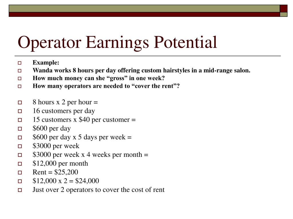 Operator Earnings Potential