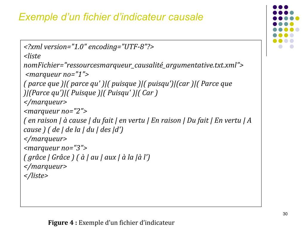 Exemple d'un fichier d'indicateur causale