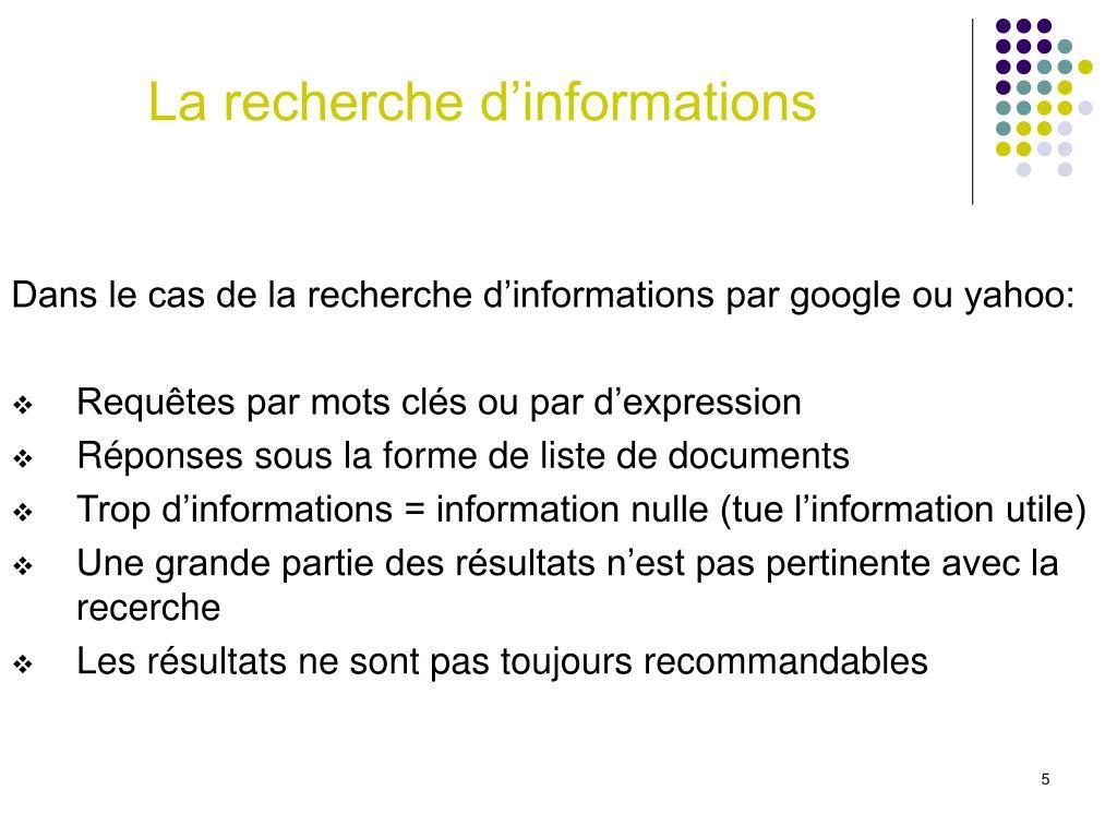 La recherche d'informations