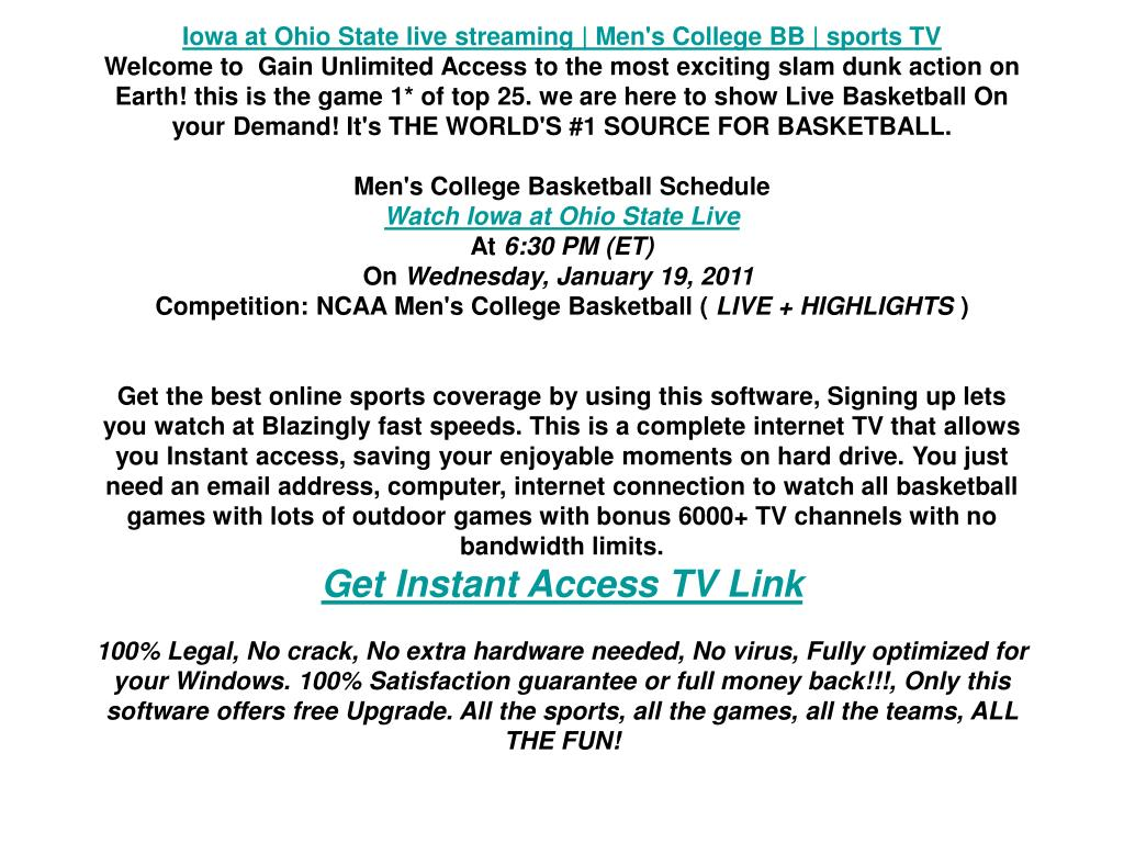 Iowa at Ohio State live streaming   Men's College BB   sports TV