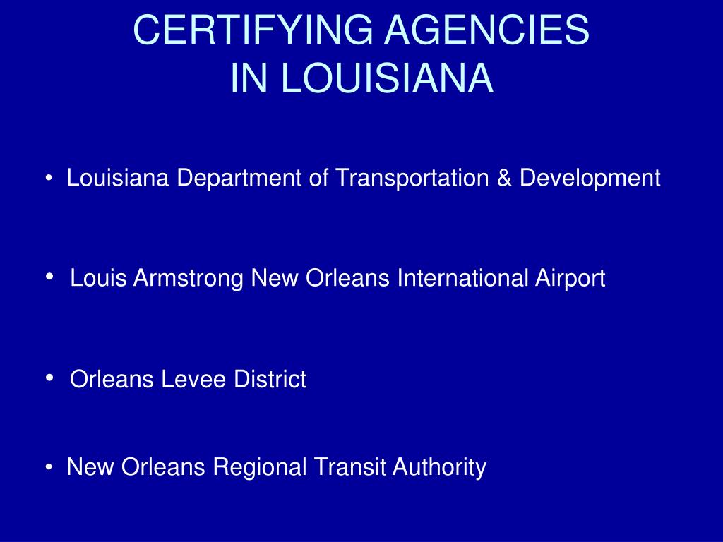 CERTIFYING AGENCIES