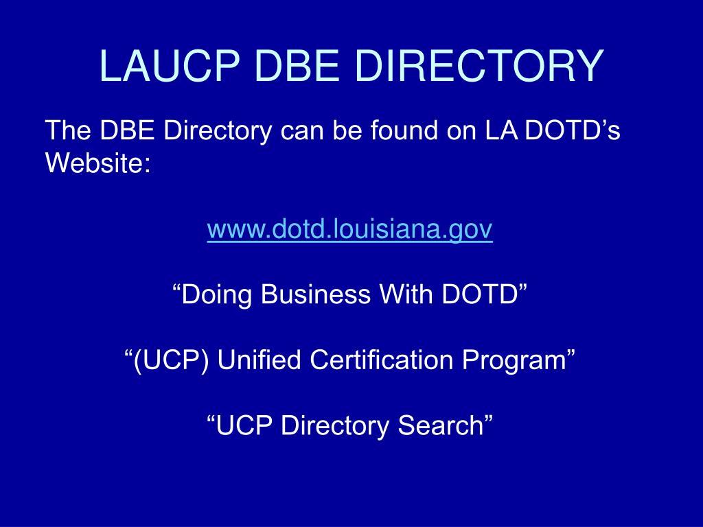 LAUCP DBE DIRECTORY