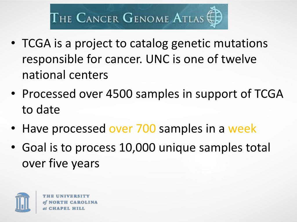 TCGA is a project to catalog genetic mutations responsible