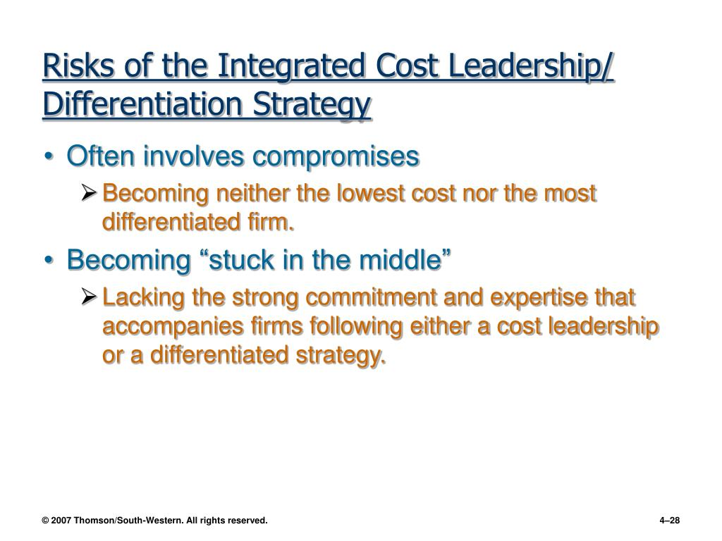 cost leadership and product differentiation Business strategy that works cost leadership is a great business strategy you need to know and understand cost leadership can be done by creating economic value which is done by having lower costs than your competitors another way create cost leadership is by product differentiation with product differentiation, you offer a product or service that customers prefer over a competitors' product or service let's look at some cost leadership strategy examples wal-mart has followed the.