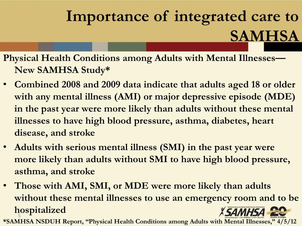 Importance of integrated care to SAMHSA