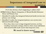 importance of integrated care to samhsa11