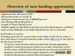 overview of new funding opportunity18