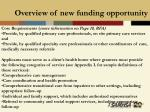 overview of new funding opportunity19