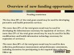 overview of new funding opportunity24
