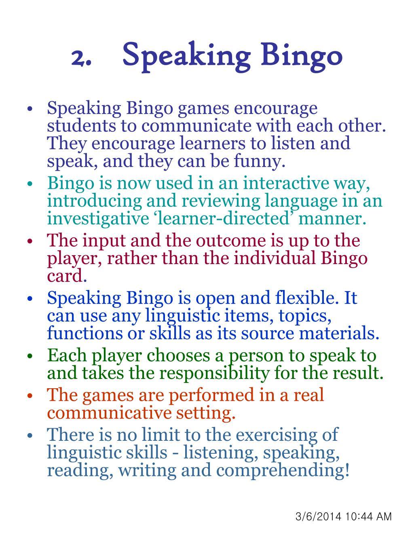 Speaking Bingo