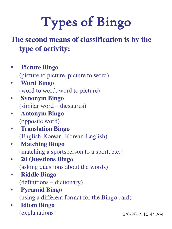 Types of Bingo