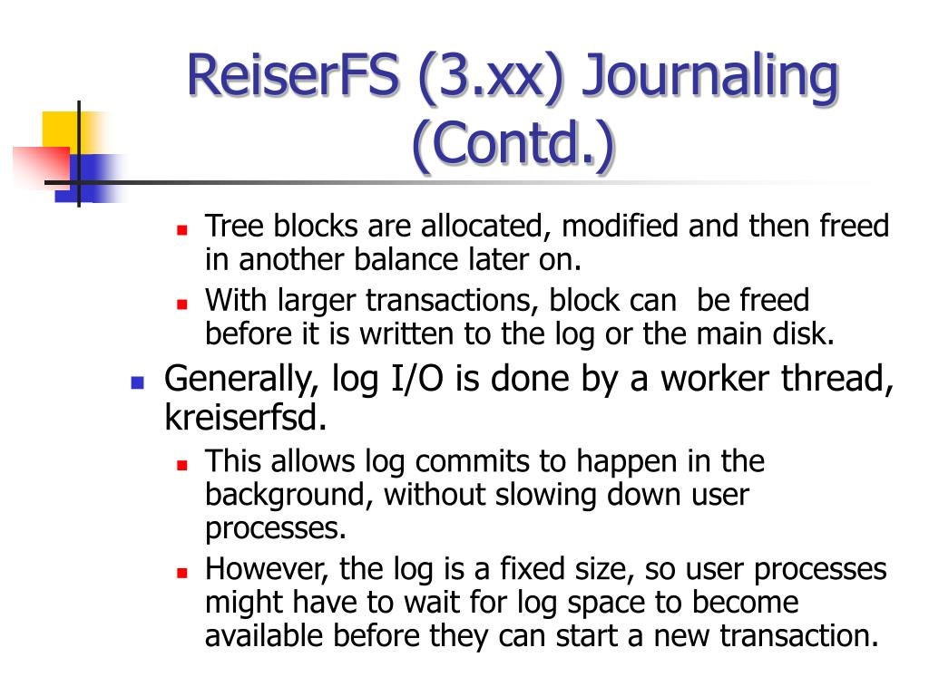 ReiserFS (3.xx) Journaling (Contd.)