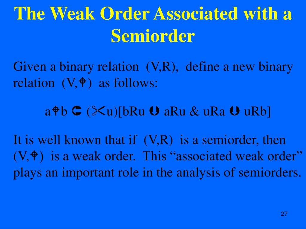 The Weak Order Associated with a Semiorder