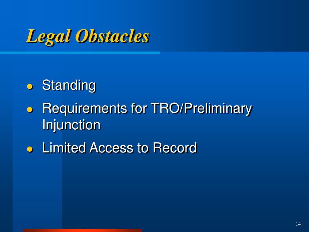 Legal Obstacles