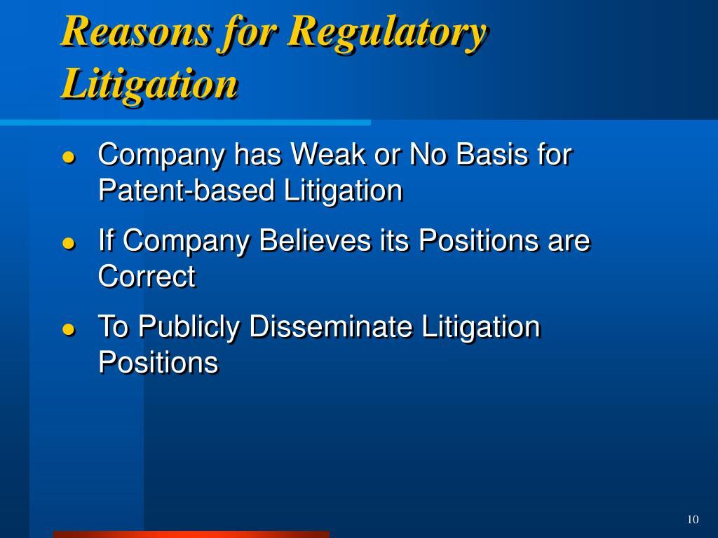 Reasons for Regulatory Litigation