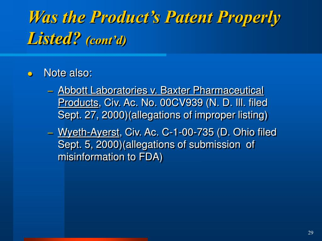 Was the Product's Patent Properly Listed?