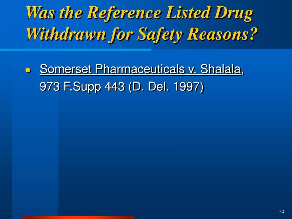 Was the Reference Listed Drug Withdrawn for Safety Reasons?
