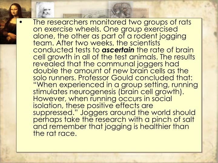 The researchers monitored two groups of rats on exercise wheels. One group exercised alone, the other as part of a rodent jogging team. After two weeks, the scientists conducted tests to