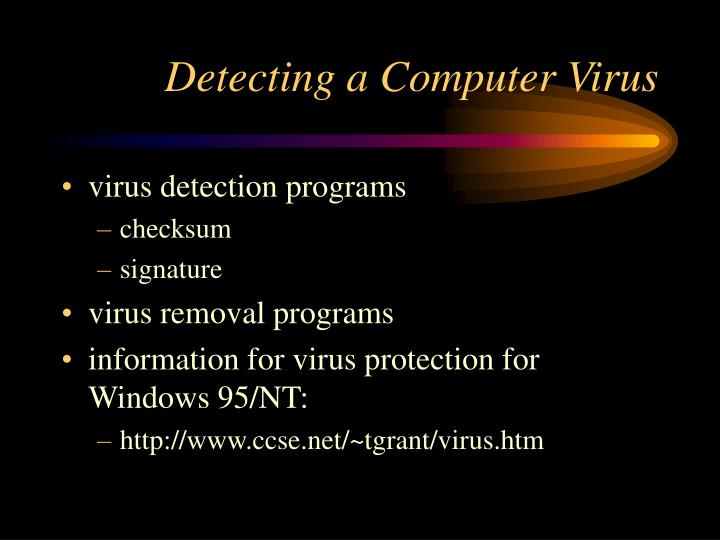 Detecting a Computer Virus