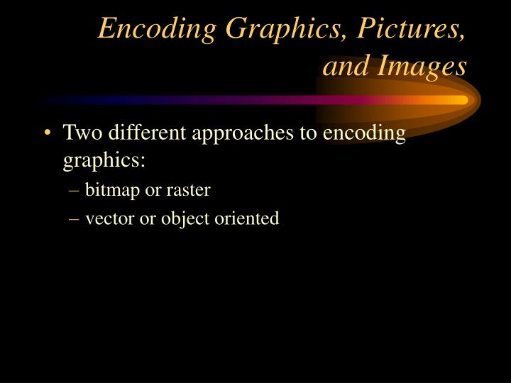 Encoding graphics pictures and images