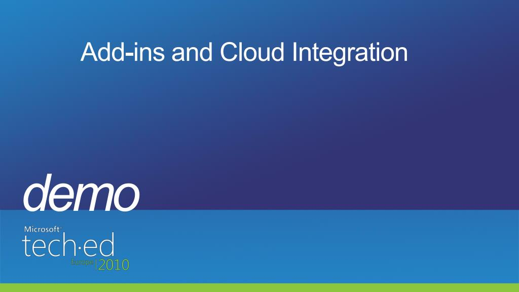 Add-ins and Cloud Integration