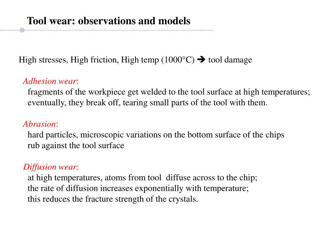 Tool wear: observations and models
