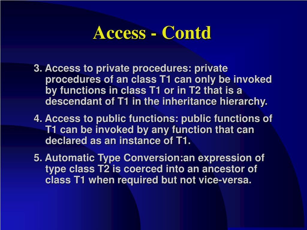 Access - Contd