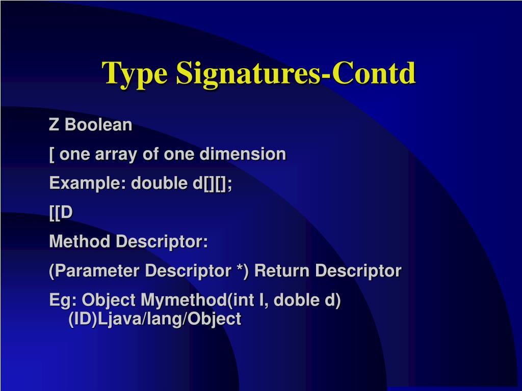 Type Signatures-Contd