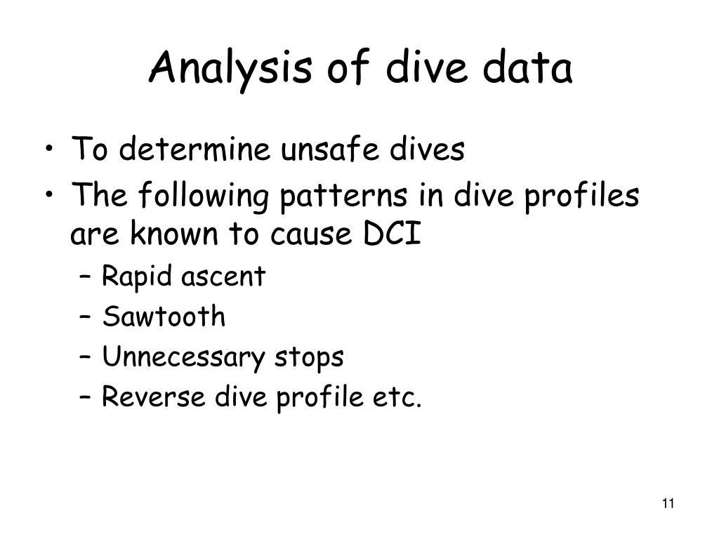 Analysis of dive data