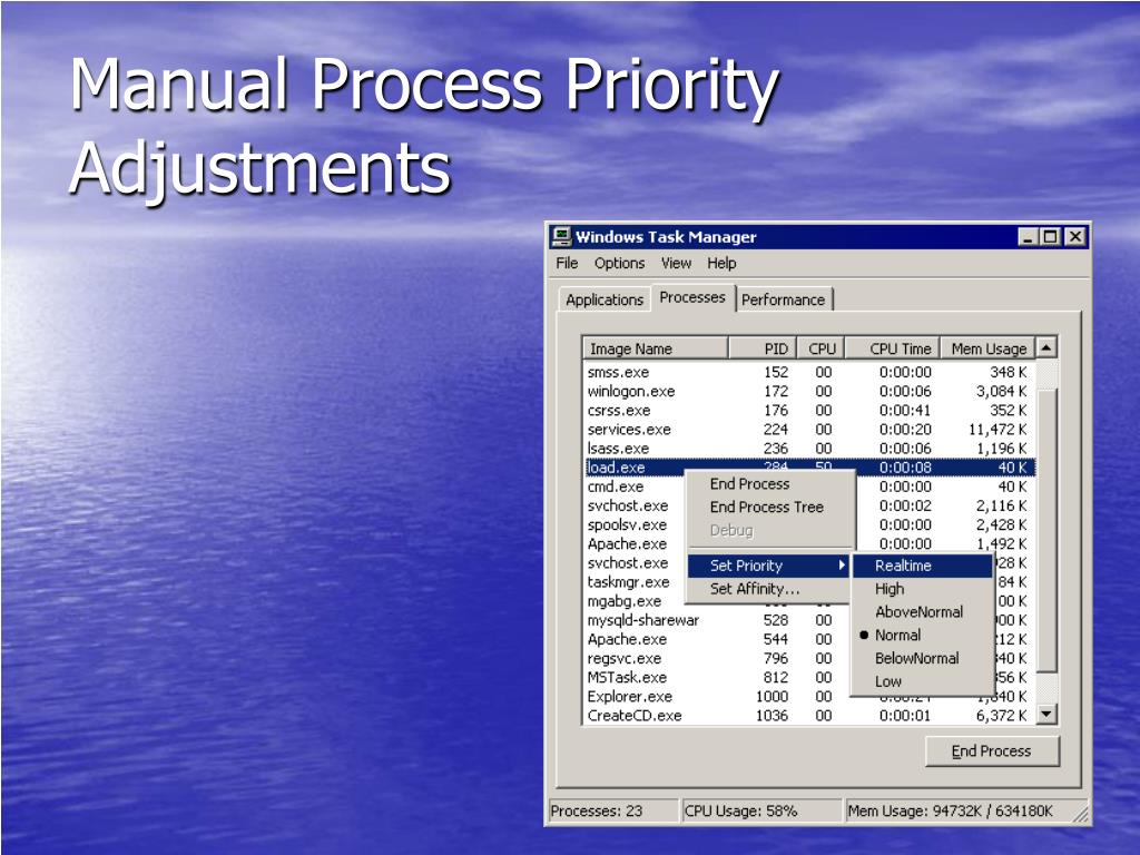 Manual Process Priority Adjustments