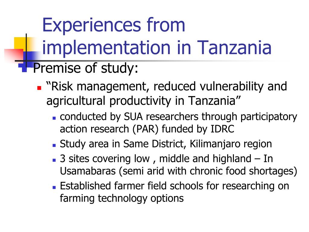 Experiences from implementation in Tanzania
