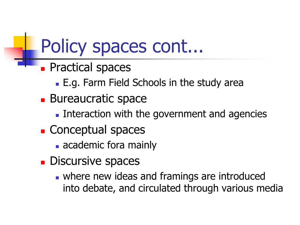 Policy spaces cont...