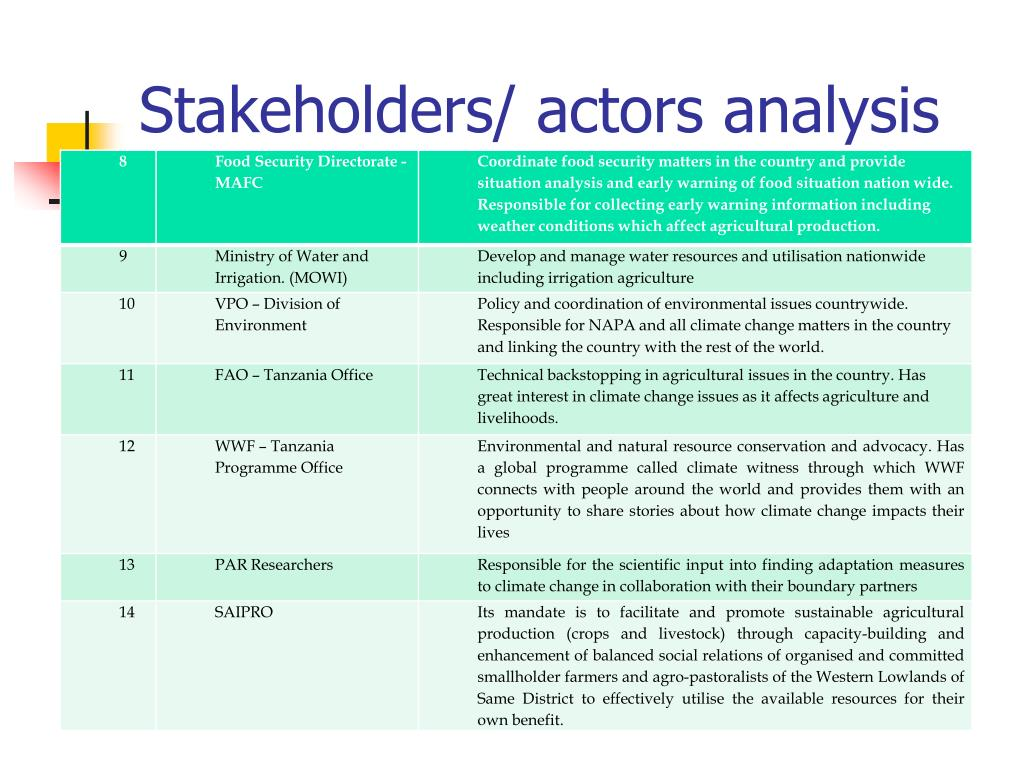 Stakeholders/ actors analysis