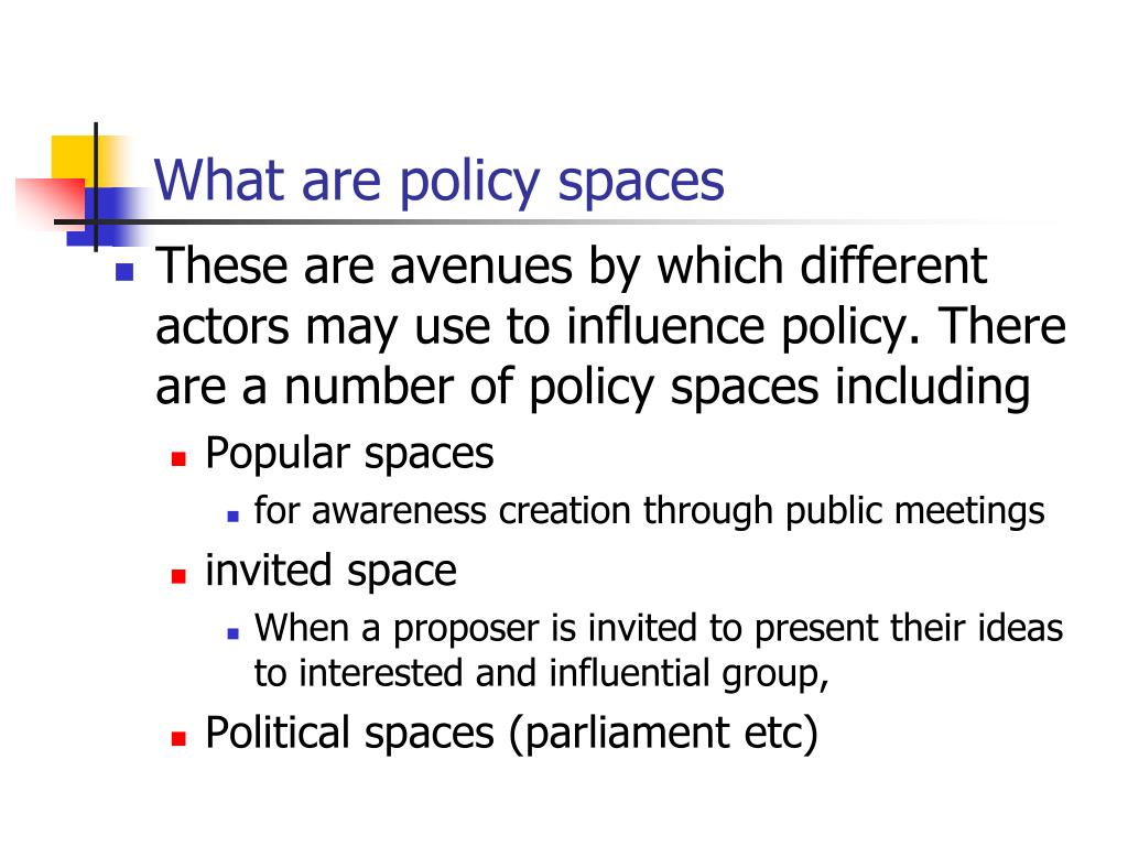What are policy spaces