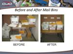 before and after mail bins