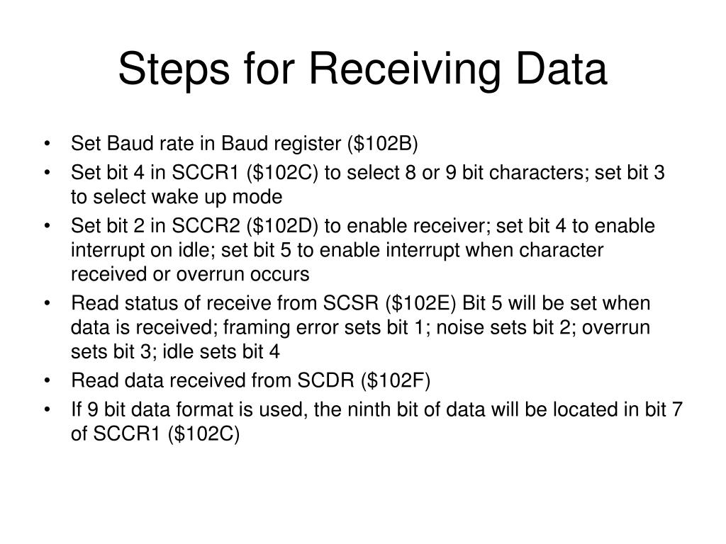 Steps for Receiving Data